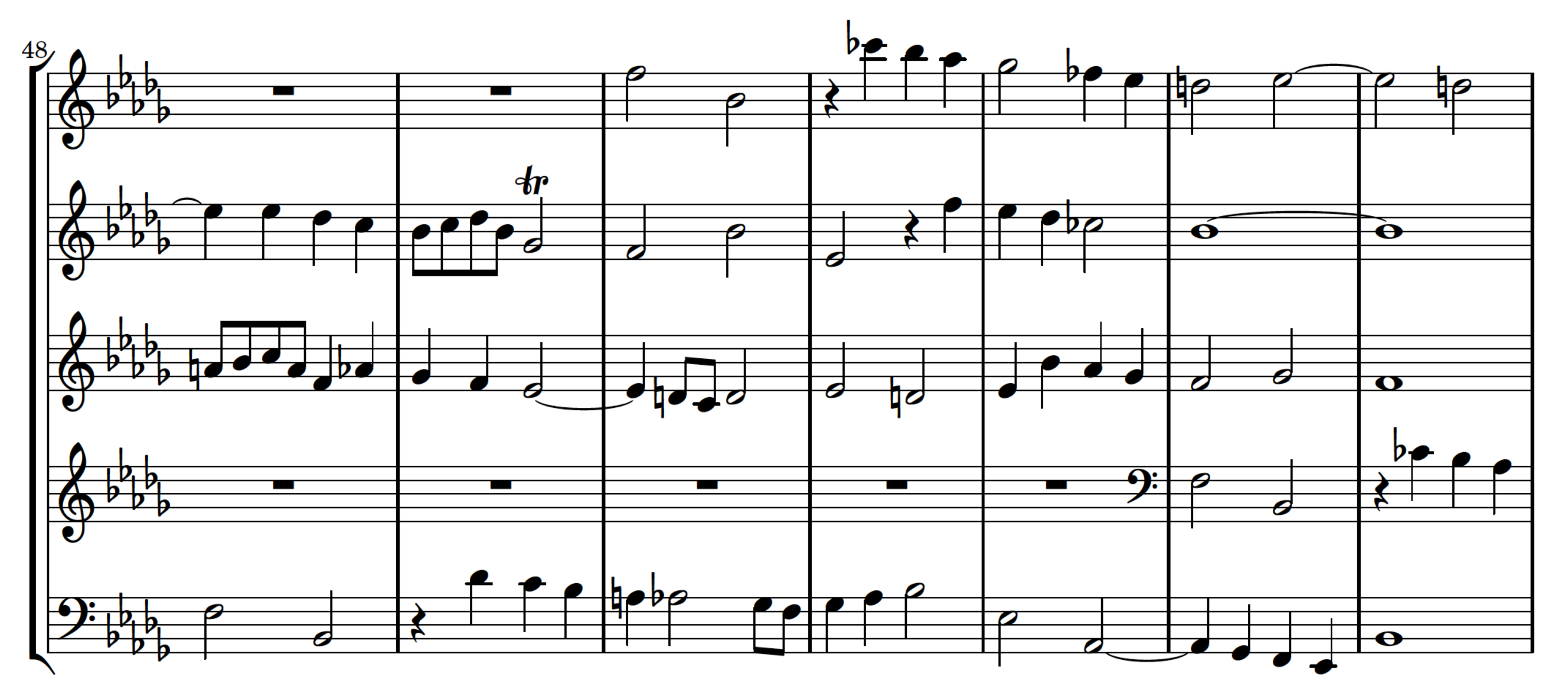 Excerpt from Bach's Fugue No. 22 in Bb Minor, BWV 867